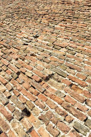 bumpy: Old brick floor ground as background Stock Photo