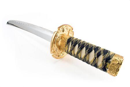 longsword: Japanese samurai katana sword isolated on white Stock Photo