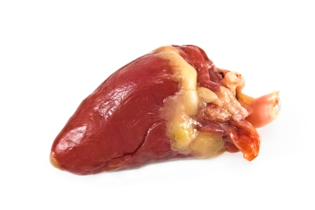 inwards: Raw chicken heart isolated on white Stock Photo