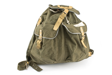 Canvas backpack isolated on white photo