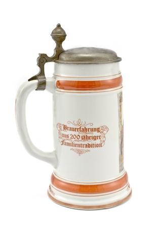 stein: Porcelain Bavarian beer mug isolated on white