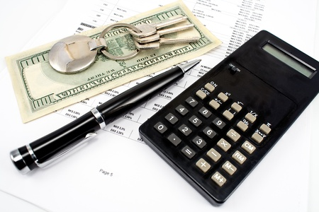 interest rates: Pen, House key, Calculator and Interest rates on bank loans