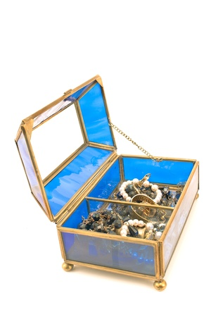 Blue glass jewelry box isolated on white photo