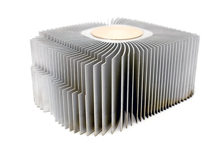 Aluminum cpu cooler heatsink isolated on white photo
