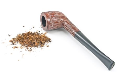 Tobacco pipe and tobacco isolated on white photo