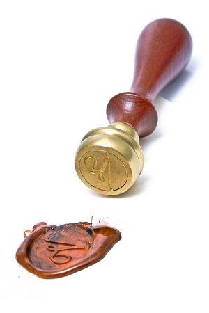 Personal stamp and wax seal isolated on white Stock Photo - 18601564