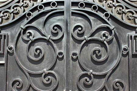 wrought: Wrought iron hand made door as background Stock Photo
