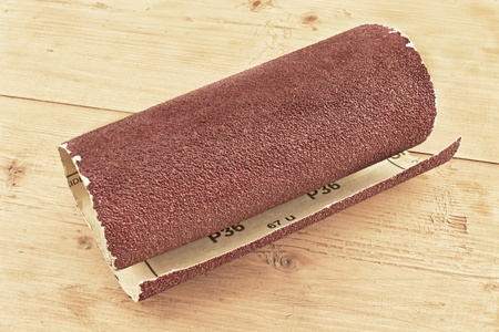 emery paper: Emery paper - sandpaper on wooden board