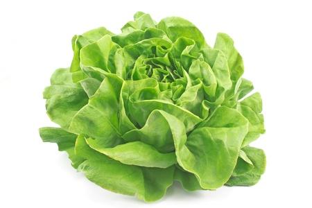 Fresh lettuce isolated on white photo