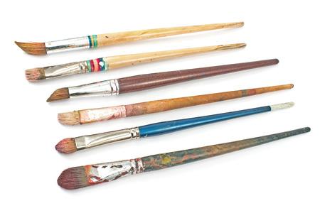 Used artist brushes isolated on white Stock Photo