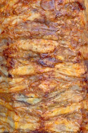 Closeuup of Greek gyros roasted meat photo