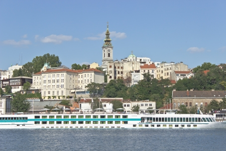 Belgrade river harbour and old town photo