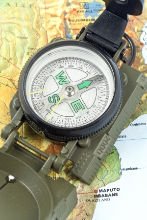 Compass on map of Africa photo