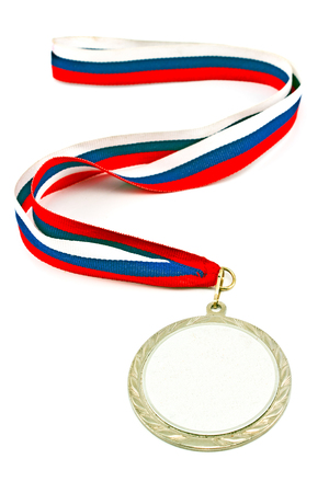 Silver medal with color stripes isolated on white  photo
