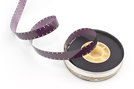 16mm: 16mm film reel isolated on white Stock Photo