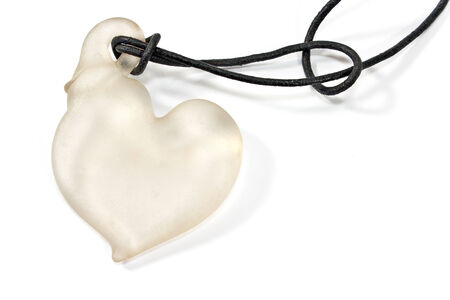 jewelle: White heart pendant necklace  on white