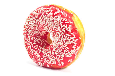 Donut with sprinkles isolated on white photo