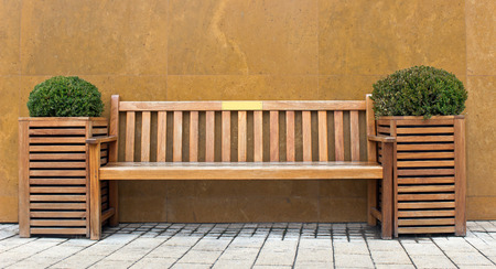 Wooden bench with bush in front of marble wall photo