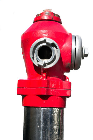 Red street fire hydrant isolated on white Stock Photo