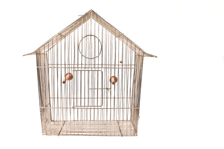 escapement: Empty bird cage isolated on white Stock Photo