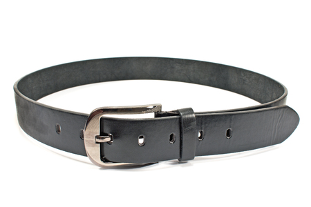 Leather mens belt with clasp isolated on white photo