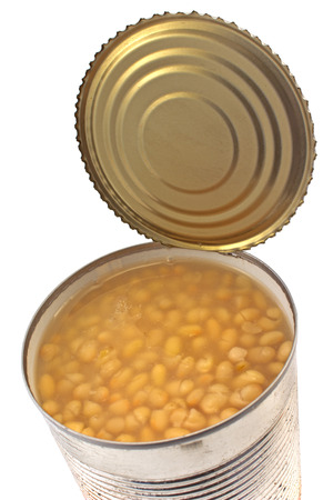 Open tin can of beans isolated on white photo