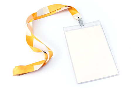 Blank ID card tag isolated on white photo