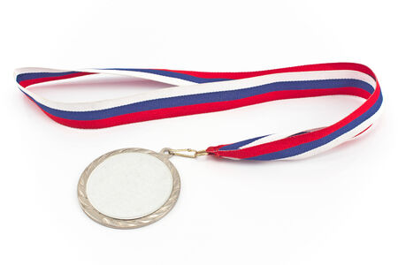 awards ceremony: Silver medal with color stripes isolated on white