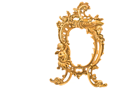 baroque frame: Antique baroque brass frame isolated on white