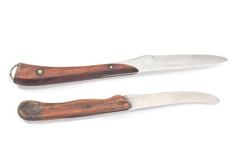 Two vintage kitchen knifes isolated on white photo