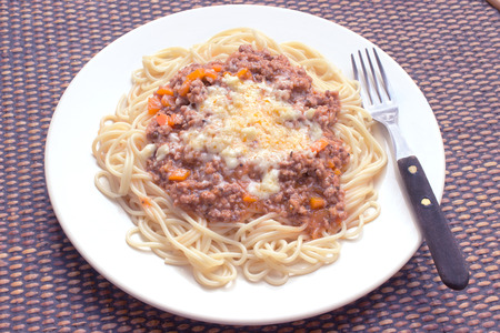 Spaghetti bolognese on plate with fork photo
