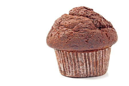Muffin chocolate isolated on white photo