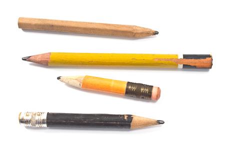 Použité dřevěné tužky na bílém Reklamní fotografie