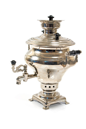 traditionally russian: Old russian tea samovar isolated on white