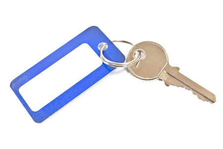 trinket: House key with blue tag isolated on white