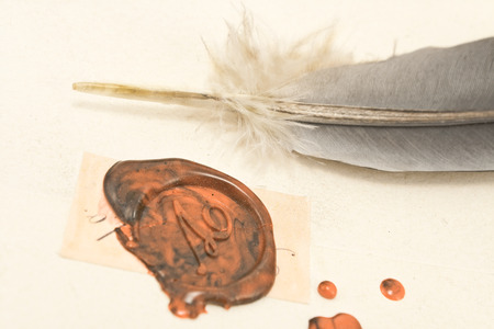 Wax sealed letter with quill photo