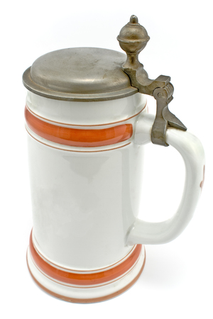 Porcelain Bavarian beer mug isolated on white