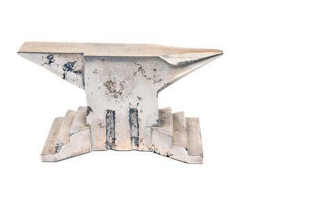 incus: Silver anvil isolated on white Stock Photo