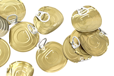 lids: Tin can lids with opener on white Stock Photo