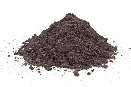 Humus soil pile isolated on white Banco de Imagens