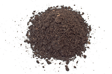 soil: Humus soil pile isolated on white Stock Photo