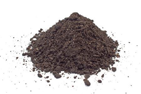 humus soil: Humus soil pile isolated on white Stock Photo