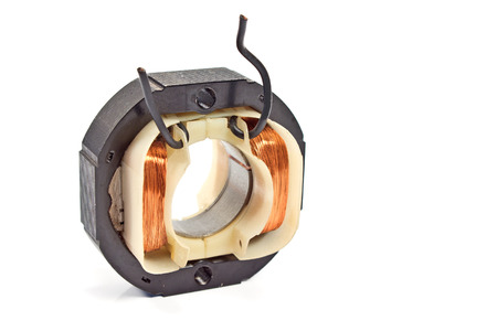 bobina: Motor de bobina de cobre eléctrico aislado en blanco