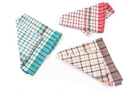 dishtowel: Colorful kitchen towels isolated on white Stock Photo