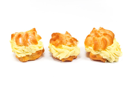 puffs: Cream Puffs isolated on white Stock Photo