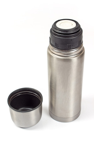 insulated drink container: Thermos flask isolated on white