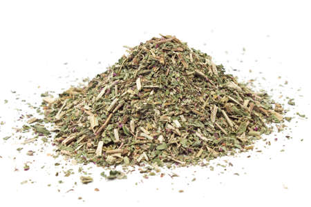 origanum: Pile of dried wild oregano herbal medicine tea on white
