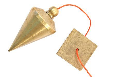 plumb: Vertical plumb bob isolated on white