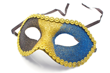 gilt head: Carnival mask isolated on white Stock Photo