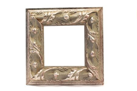 silver frame: Antique baroque silver frame isolated on white